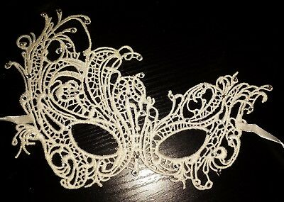 Ivory Lace Filigree Masquerade Ball Mask Gothic fancy Christmas Party Diamante