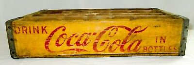 Vintage Coca Cola Coke Shipping Advertising Slotted Yellow Wood Crate