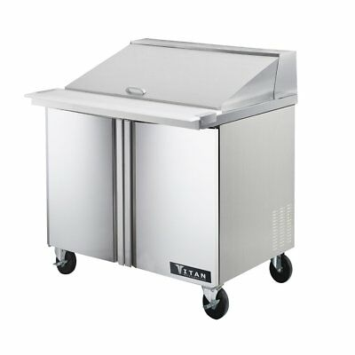 Titan TIMU36-15 Mega Top Sandwich Prep Tables 2 Door 15 Pans 36 inch