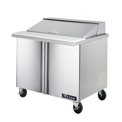 Titan TISU36-10 Sandwich Prep Tables 2 Door 10 Pans 36 inch