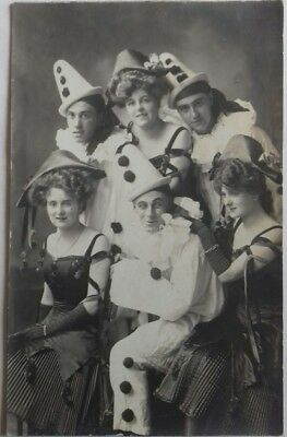 Vintage Postcard, Pierrots & Showgirls, Early Real Photo, Great Costumes c1905