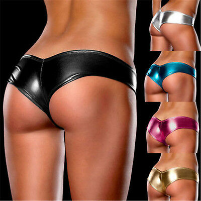Women Ladies Metallic Lingerie Underwear Panties Knickers G-String Micro Thong B