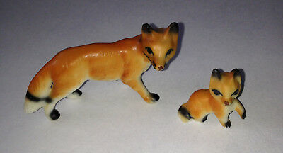 Vintage Bone China Miniature MOTHER FOX & BABY Figurine Mini Animal Wildlife