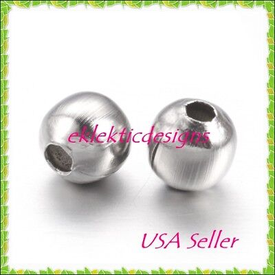 4mm 25pc Stainless Steel Metal Round Spacer Beads Earrings Jewelry Findings