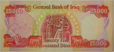 Modern 25000 Dinars Central Bank of Iraq Crisp Uncirculated Colorful Note