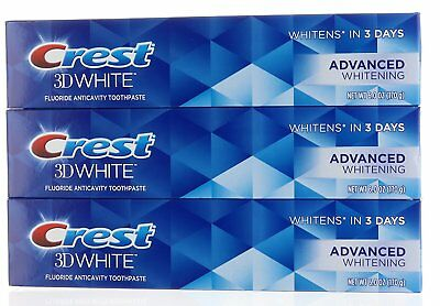 3X Crest 3D White Advanced Whitening Fluoride Anticavity Toothpaste 6 oz each