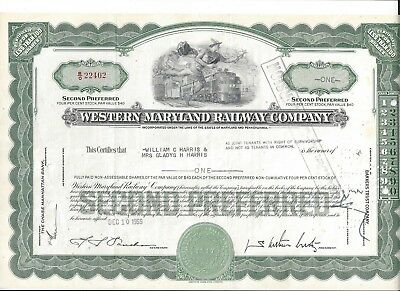Western Maryland Railway Company Second Preferred Stock Certificate 1959
