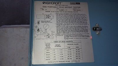 Ashcroft Dead Weight Tester 1305-D 1000# With Weights In Box Plus Accessories