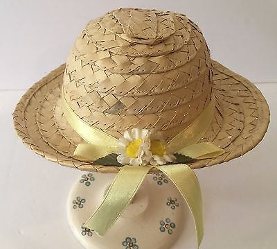 Vintage Straw Woven Doll Hat w/ Yellow Ribbon & Daisies For Bisque Composition
