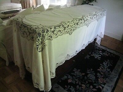 "Vintage~Antique White Battenburg Rectanglar  63"" X 112"" Embroidered Tablecloth"
