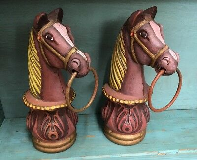 Two Antique American 19th c. Painted Cast Iron Hitching Post Horse Head W/Ring