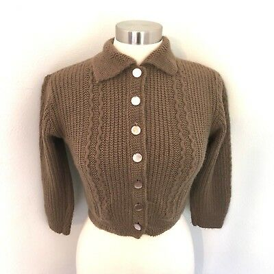 Vintage Lofties Cardigan Brown Sweater Button Up Collar 50's Cable Knit Cropped