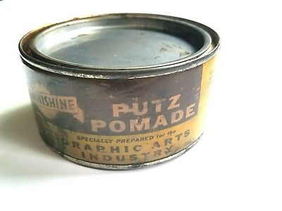 Vintage 15 1/4 oz can Burnishine Putz Pomade Paste Letter Press Proof Press