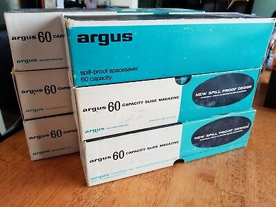 Argus 60 Slide Magazine Tray 500 Series Projectors Spill Proof in Box 587 QTY-6
