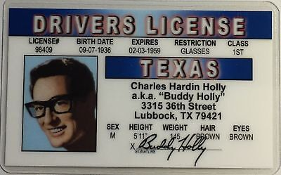 Buddy Holly - Texas Drivers License Novelty