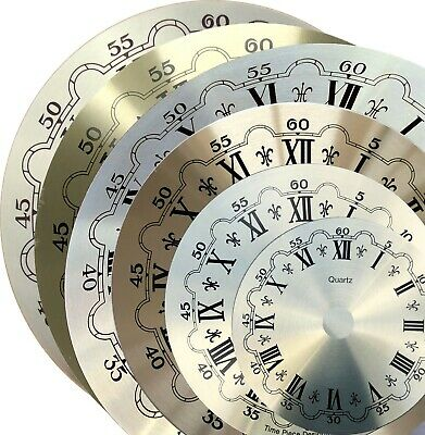 Clock dials, brushed gold, Outside Diameters 70mm, 98mm, 128mm, 157mm, 160mm