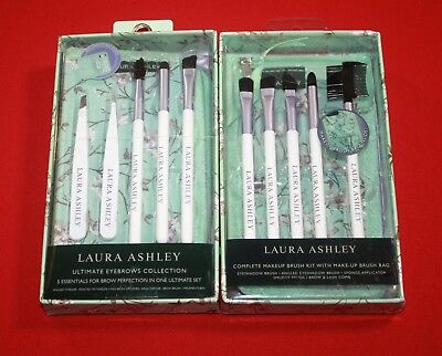 Laura Ashley Ultimate Eyebrows Collection & Make Up Brush Sets 10 Pc ~Inc. Bags