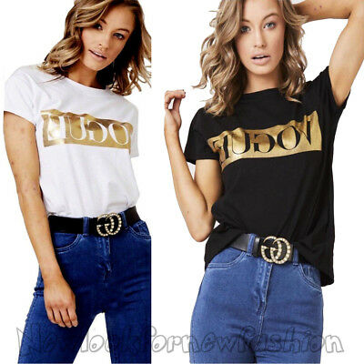 Womens Short Sleeve Vogue Slogan Ladies Gold Foil Printed Casual T Shirt Top Tee