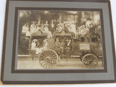 Antique Horse Drawn Hebard Large Touring Coach 35 People on Board Photo