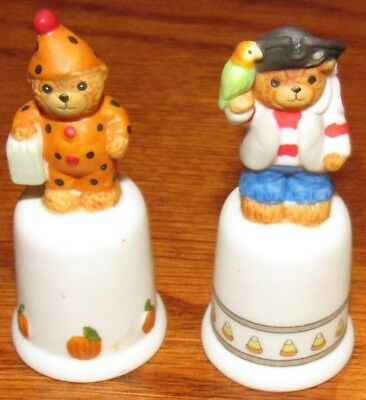 2 Vintage Lucy Rigg (Lucy & Me) Halloween Thimbles, Clown & Pirate