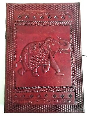 Hand Made Leather Bound Book/Journal Recycled Paper Elephant 25 x 18 cm