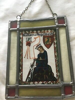 Vintage Stained Glass Art Leaded German picture Handmade, Hand paint. RARE.