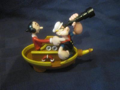 """Vintage King Features Syndicate Popey and Olive Oyl in Roll Back Boat RARE  2.5"""""""