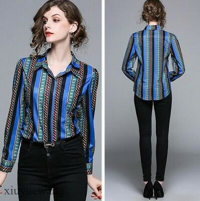 Women's Vertical Stripe Lapel Collar Chiffon Shirts OL Work Tops Blouse Slim Fit