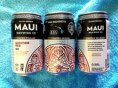 LIMITED RELEASE  EMPTY MAUI BREW ~ WAIMEA RED ALE Craft Beer 12oz Can Hawaii NEW