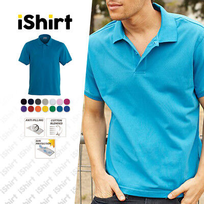 Mens Polo Shirt Poly Cotton Plain Colour Semi Fitted Anti Pill Basic Polo