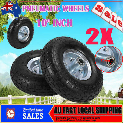 "10"" 250mm Hand Trolley Wheel Tyre Rim 20mm Bore Puncture Proof Solid Rubber"