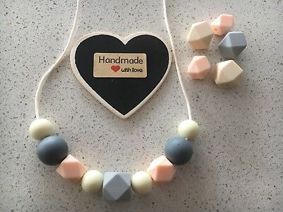 Silicone Sensory (was teething) Necklace for Mum Jewellery Beads Aus Peach