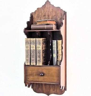 19C Antique French Wood Hanging Wall Shelf Letter Rack Stationery Organizer
