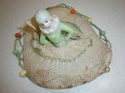 Vintage Milk Jug Doiley Cover With Porcelain Half Doll - Just Gorgeous