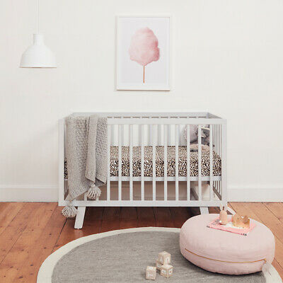 Bebe Care Euro Casa Cot Change Table Mattress Pad Crib Baby Bed White Grey