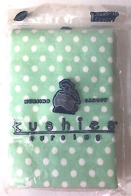 Kushies Nursing Breastfeeding Cover Canopy Green Flannel Polka Dot Cotton