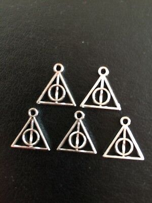 10x Charms Pendant Deathly Hallows Connectors Findings Tibetan Silver S572T