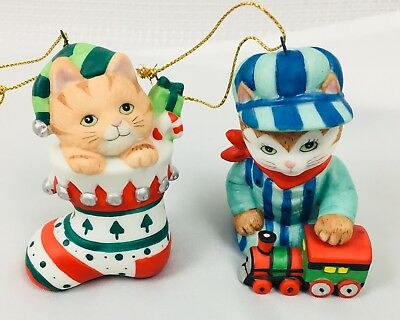 Bronson Collectibles BC Cat Christmas Ornament Stocking Train Conductor Set Of 2