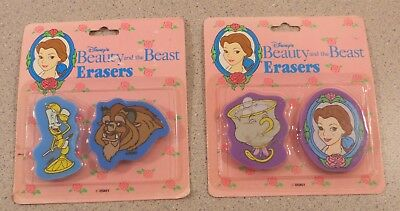 Brand New Vintage Disney Beauty and the Beast Die Cut Erasers by Impact Inc.