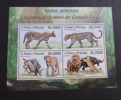 St Thomas & Prince Island 2013 MS large cats lion leopard MNH UM unmounted mint