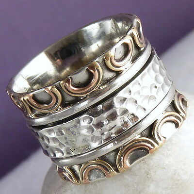 Double Crown SPINNER US 7.5 Chunky SILVERSARI Ring Solid 925 Stg Silver SPR1061