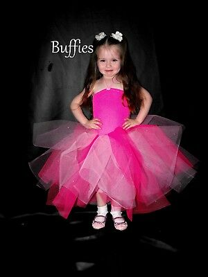 Girls White Rainbow Pink Tutu Dress Handmade Witch Devil Fairy Angel frozen