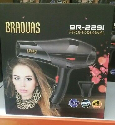 New Hot Professional Style 3000W Hair Dryer with Diffuser & Nozzle uk plug