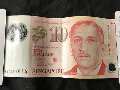 2015 Singapore Portrait Polymer 10 Dollars W/1 Hollow House Circulated Currency