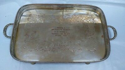 QUALITY LARGE SILVER PLATED TRAY ORNATE SERPENTINE GALLERY BALL CLAW FEET Emboss