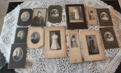 Lot of 14 Antique Black & White Young Men and Women Photos   Lot 1