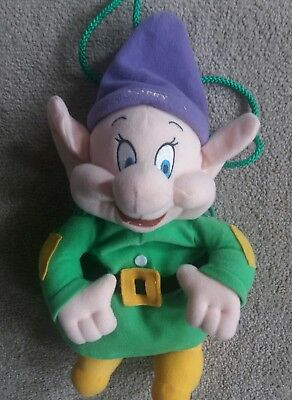 Dopey Plush Disney Zip up Drawstring 11inch Bag Novelty Backpack 11inch 11""