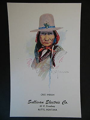 E S Paxson Butte Montana 1928 Cree Indian Advertising Ink Blotter Sullivan Co