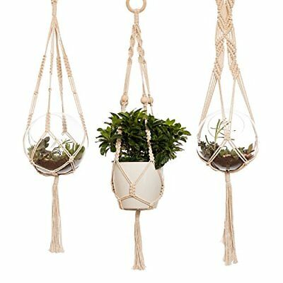 Ling's moment Macrame Plant Hanger set of 3 Indoor Outdoor Hanging Planter Rope