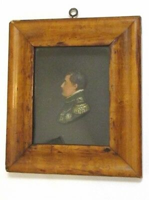 Antique  Rare  19th Century French Miniature Wax ? Portrait  Napoleon Framed